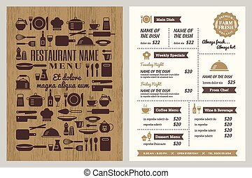 Restaurant menu design template with silhouette kitchen...