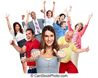 Happy people crowd. - Happy joyful people group isolated...
