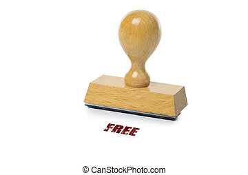 Free Rubber Stamp - Free printed in red ink with wooden...