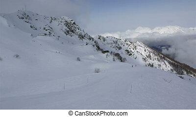 Panorama peaks of Caucasus Mountains in the Rosa Khutor alpine ski resort
