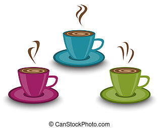 cup of steaming drink - three cups of different colors. In...