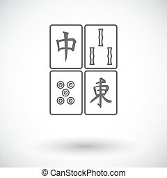 Mahjong Single flat icon on white background Vector...