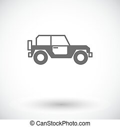 Offroad car Single flat icon on white background Vector...