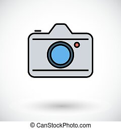 Camera. Flat icon on the white background for web and mobile...