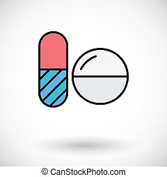 Contraceptive pills Flat icon on the white background for...