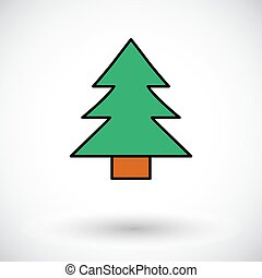 Conifer. Flat icon on the white background for web and...