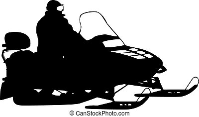 Silhouette snowmobile on white background Vector...