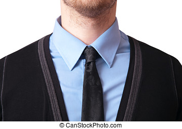 Closeup of a tie with shirt and cardigan, isolated