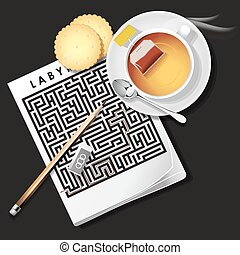 illustration of labyrinth game with hot tea and cracker -...