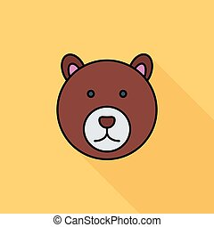 Bear icon Flat vector related icon with long shadow for web...