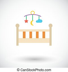 Baby bed icon. Flat vector related icon for web and mobile...