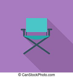 Camping chair icon. Flat vector related icon with long...