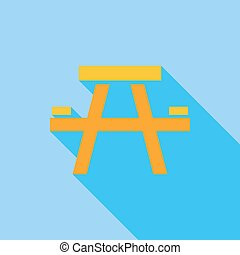 Camping table icon Flat vector related icon with long shadow...