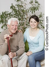 Content old man and granddaughter - Photo of content old man...