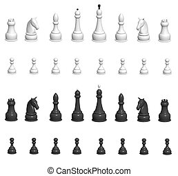 Chess  - Set - 3d chess. Over white