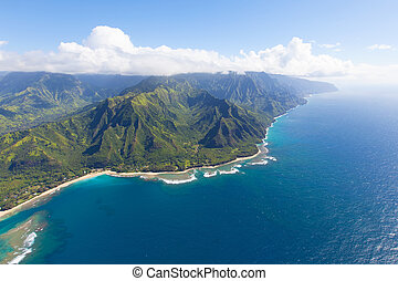 kauai island - breathtaking aerial view from helicopter at...