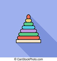 Pyramid toy icon. Flat vector related icon with long shadow...