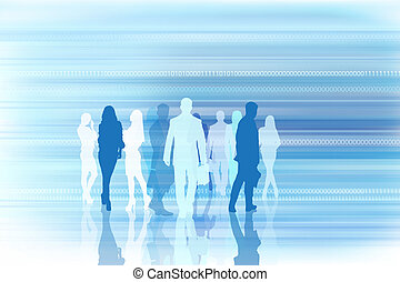 Silhouettes of businesspeople on the matrix background