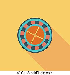 Roulette icon. Flat vector related icon with long shadow for...