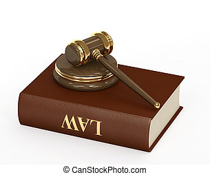 Law - Symbol of justice - judicial 3d gavel. Object over...