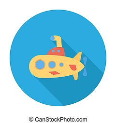 Submarine icon Flat vector related icon with long shadow for...