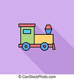 Train toy icon Flat vector related icon with long shadow for...
