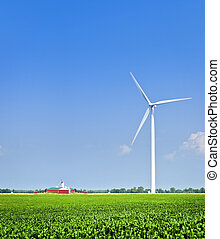 Wind turbine in field - Green alternative clean power wind...