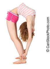 Sports girl in return inclination - Sports flexible girl in...