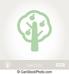 Fruit tree vector icon outline, eps 10