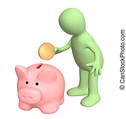 Piggy bank - 3d puppet who is saving money in piggy bank...