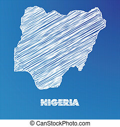 Blueprint map of the country of Nigeria