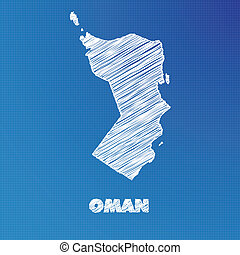 Blueprint map of the country of Oman