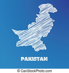 Blueprint map of the country of Pakistan