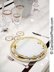 tabla, cena, Platos, anteojos
