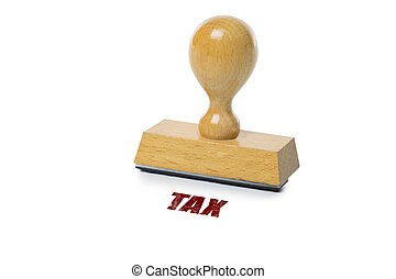 Tax Rubber Stamp - Tax printed in red ink with wooden Rubber...