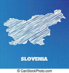 Blueprint map of the country of Slovenia