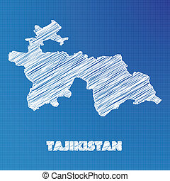 Blueprint map of the country of Tajikistan