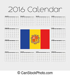2016 Calendar with the Flag of Andorra - A 2016 Calendar...