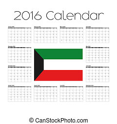 2016 Calendar with the Flag of Kuwait - A 2016 Calendar with...