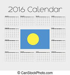 2016 Calendar with the Flag of Palau - A 2016 Calendar with...