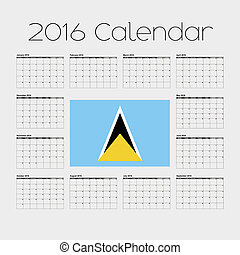 2016 Calendar with the Flag of Saint Lucia - A 2016 Calendar...