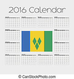 2016 Calendar with the Flag of Saint Vincents and the...