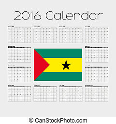2016 Calendar with the Flag of Sao Tome E Principe - A 2016...