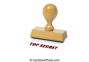 Top Secret Rubber Stamp - Top Secret printed in red ink with...