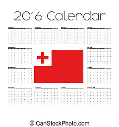 2016 Calendar with the Flag of Tonga - A 2016 Calendar with...