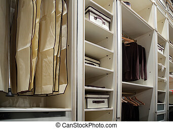 Clothes in wardrobe