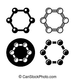 Graphene Structure Icons Set. Vector - Graphene Structure...