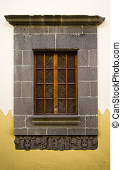 Window with closed shutters in Canarian architecture, Gran...