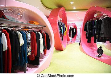 moderno, ropa, Tienda