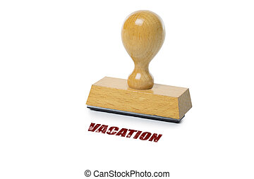 Vacation Rubber Stamp - Vacation printed in red ink with...